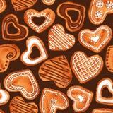 水彩心脏曲奇饼的无缝的样式 免版税库存照片