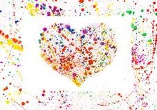 水彩心脏框架 免版税库存照片