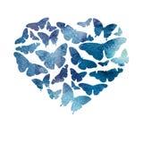 水彩心脏用蓝色树荫明亮的透明蝴蝶填装了 免版税库存图片