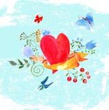 水彩心脏的构成 库存例证