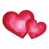 水彩心脏 设计要素例证图象向量 免版税库存照片