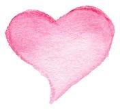 水彩您的设计的被绘的红色心脏标志隔绝了ove 库存图片