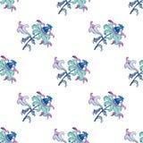 水彩手图画开花,在蓝色,丁香和绿松石颜色的无缝的样式 免版税图库摄影