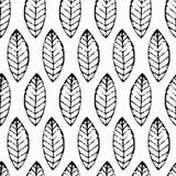 水彩手拉的传染媒介叶子无缝的样式 抽象gru 向量例证