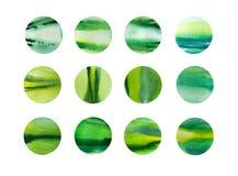 水彩手拉的小点摘要背景,绿色抽象背景 库存图片