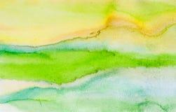 水彩手拉的抽象背景,绿色抽象背景 库存图片