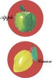 水彩手拉的柠檬 库存照片