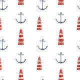 水彩手拉的海船舶无缝的样式 免版税库存图片