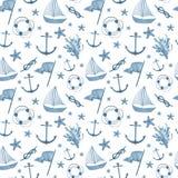 水彩手拉的海船舶无缝的样式 库存照片