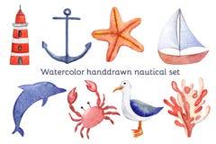 水彩手拉的海船舶集合 库存图片