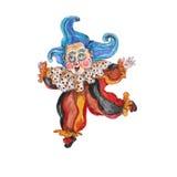 水彩手拉的被隔绝的小丑 免版税库存图片