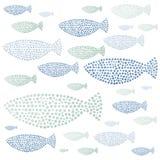 水彩手拉的鱼 免版税图库摄影