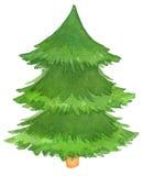 水彩手画圣诞树 图库摄影