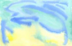 水彩手画蓝色黄绿色背景纹理 图库摄影