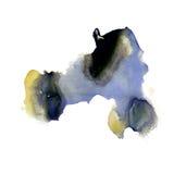 水彩抚摸与空间的油漆紫色黑黄色冲程纹理颜色您自己的文本艺术的 免版税图库摄影
