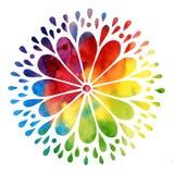 水彩抽象五颜六色的太阳 库存图片
