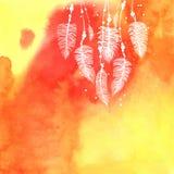 水彩抽象橙色手拉的背景 库存图片