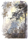 水彩抽象风景,森林在阳光下 免版税库存照片