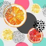 水彩新鲜的桔子、葡萄柚和五颜六色的圈子无缝的样式 皇族释放例证