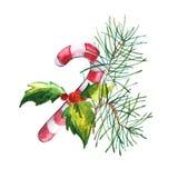 水彩新年和圣诞树 皇族释放例证