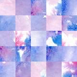 水彩方形的几何样式 马赛克手拉的背景 免版税图库摄影