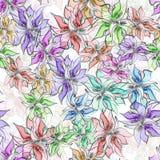 水彩无缝的明亮的抽象花 库存例证