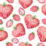 水彩无缝的样式用新鲜的草莓 免版税图库摄影