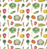水彩无缝的样式用胡椒、红萝卜和圆白菜 免版税库存图片