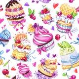水彩无缝的样式用鲜美点心、蛋糕和莓果 背景五颜六色的例证夏天向量 手拉的原来的 库存例证