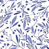 水彩无缝的植物的样式 单色花,叶子,草本背景 库存图片