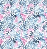 水彩无缝的纹理WithDeep蓝色蕨和桃红色叶子 免版税库存照片