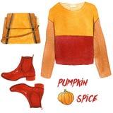 水彩时尚例证 套时髦秋天辅助部件 南瓜香料、运动衫、鞋子和提包 免版税图库摄影