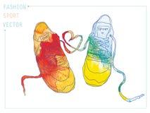 水彩时尚运动鞋 免版税库存照片