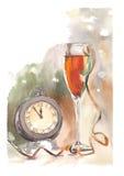 水彩时钟和玻璃 免版税库存图片