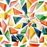 水彩明亮的五颜六色的三角摘要无缝的纹理 免版税库存图片