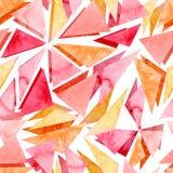 水彩明亮的桃红色片段几何无缝的样式 免版税图库摄影
