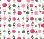 水彩明亮的玫瑰和五颜六色的小点重复样式 库存图片