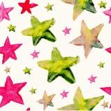 水彩星无缝的样式 免版税库存图片