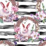 水彩春天愉快的复活节无缝的样式 免版税库存图片