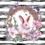水彩春天愉快的复活节花圈 库存图片