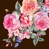 水彩春天花束用开花的樱桃和英国玫瑰 库存图片