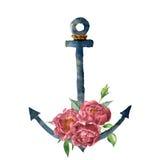 水彩有绳索的葡萄酒船锚和牡丹开花 与被隔绝的花卉装饰的手画船舶例证  库存例证