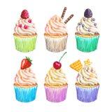 水彩杯形蛋糕汇集 被设置的水彩杯形蛋糕 免版税库存照片