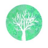 水彩树商标生态标志标志 图库摄影