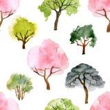 水彩树无缝的样式 皇族释放例证