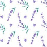 水彩样式用淡紫色 手绘画 织品的无缝的样式、纸和其他打印和网项目 库存图片