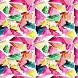 水彩桃红色和绿色三角无缝的样式 库存照片