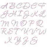 水彩桃红色和紫色花英语字母表  库存照片