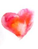 水彩桃红色心脏 图库摄影