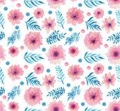 水彩桃红色精美花、小点和叶子无缝的样式 免版税库存图片